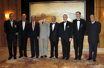Meeting of the administration council of The Légion d'Honneur Club Hong Kong Chapter : Mr Bertrand Michaud, the Consul general, Dr Stanley Ho, the Grand Chancellor, Dr James Kung, Sir Wayne Leung, Mr Paul Clerc-Renaud, Mr Hilton Cheong-Leen